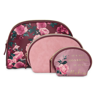 Mixit Burgundy Floral 3-pc. Makeup Bag