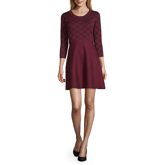 My Michelle-Juniors 3/4 Sleeve Fit & Flare Dress