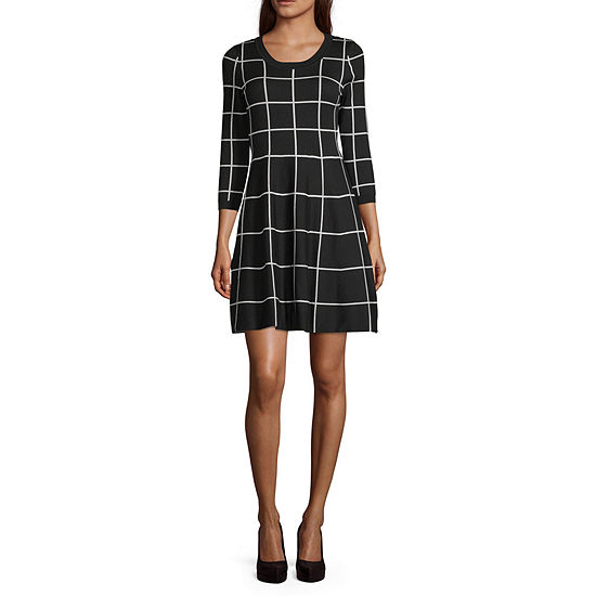 My Michelle-Juniors 3/4 Sleeve Grid Fit & Flare Dress
