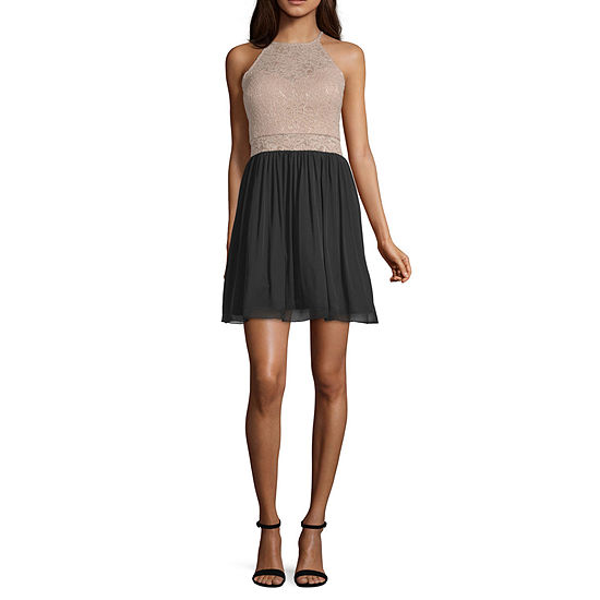 Byer California Short Sleeve Party Dress-Juniors