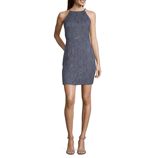 by&by-Juniors Sleeveless Applique FIt & Flare Dress