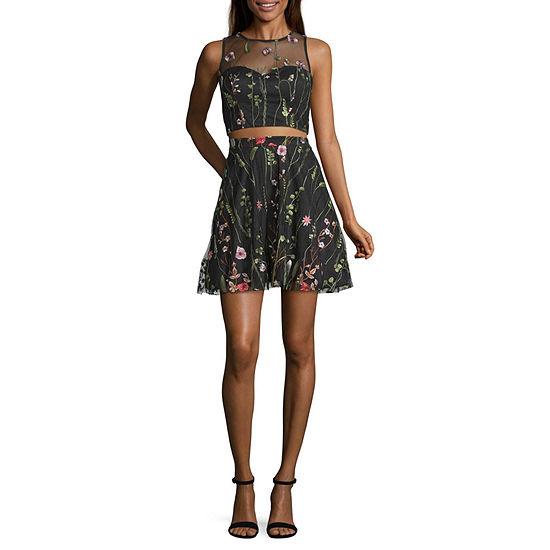 My Michelle Sleeveless Embroidered Dress Set-Juniors