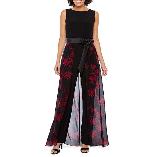 R & K Originals Sleeveless Belted Floral Sheer Skirt Jumpsuit