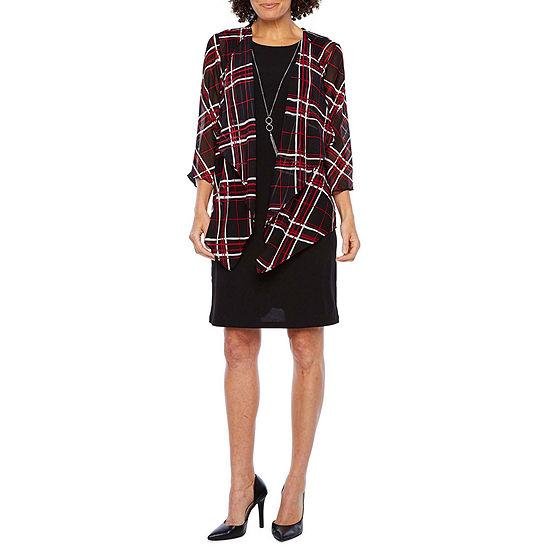 R & K Originals 3/4 Sleeve Faux-Jacket Dress