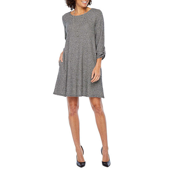 Alyx Long Rolled Sleeve Swing Dress with Necklace