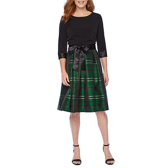 R & K Originals 3/4 Sleeve Plaid Fit & Flare Dress
