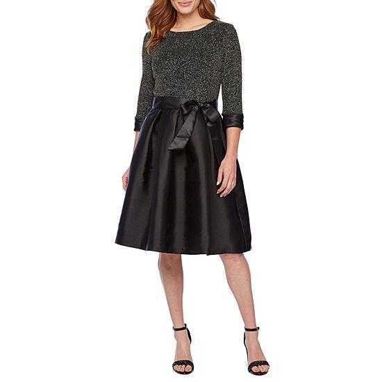 R & K Originals 3/4 Cuffed Sleeve Fit & Flare Dress
