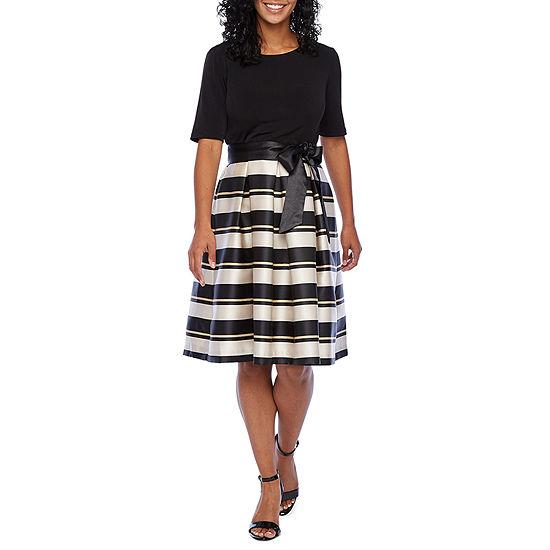 R & K Originals-Petite Short Sleeve Striped Fit & Flare Dress