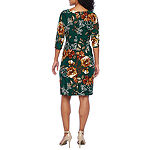 Robbie Bee 3/4 Sleeve Floral Leaf Sheath Dress-Petite