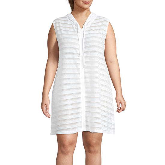 Porto Cruz Striped Dress Swimsuit Cover-Up Plus
