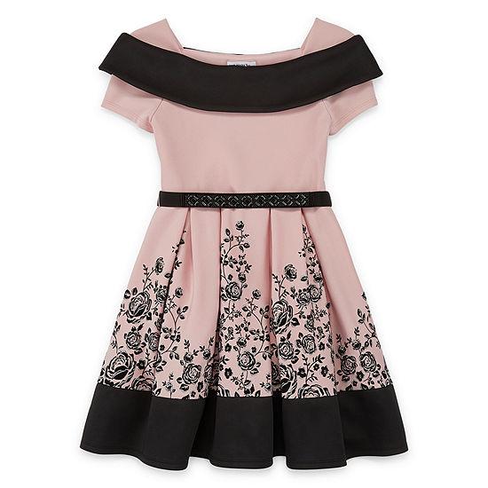 Knit Works Girls Short Sleeve Cap Sleeve Skater Dress - Big Kid