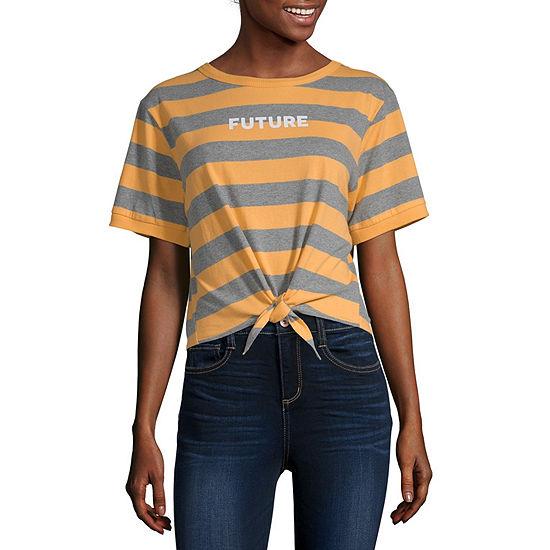 Flirtitude Womens Crew Neck Short Sleeve Crop Top-Juniors