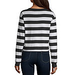 Flirtitude Womens Crew Neck Long Sleeve Crop Top-Juniors