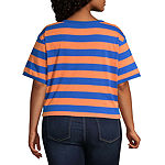 Flirtitude Womens Crew Neck Short Sleeve Crop Top-Juniors Plus