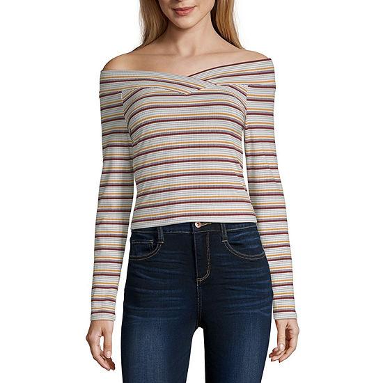 Arizona Juniors-Womens Straight Neck Long Sleeve T-Shirt