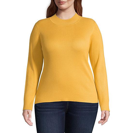 Arizona-Juniors Plus Womens Mock Neck Long Sleeve Pullover Sweater