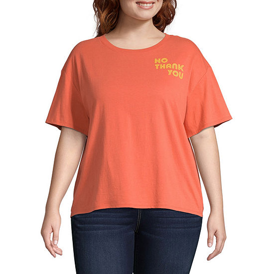 Arizona-Womens Crew Neck Short Sleeve T-Shirt Juniors Plus