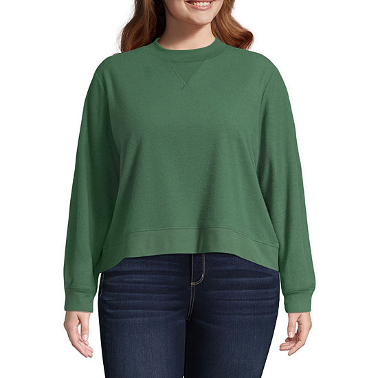 Arizona-Womens Crew Neck Long Sleeve T-Shirt Juniors Plus