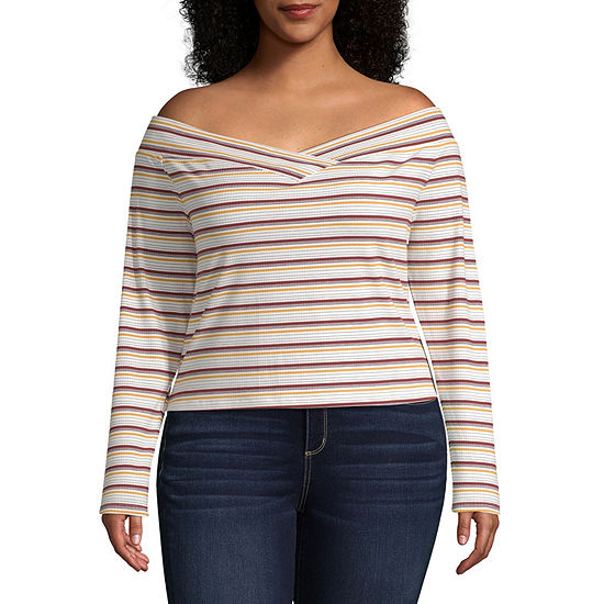 Arizona Juniors Plus-Womens Straight Neck Long Sleeve T-Shirt
