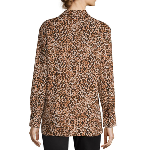 Worthington Womens Long Sleeve Tunic Top
