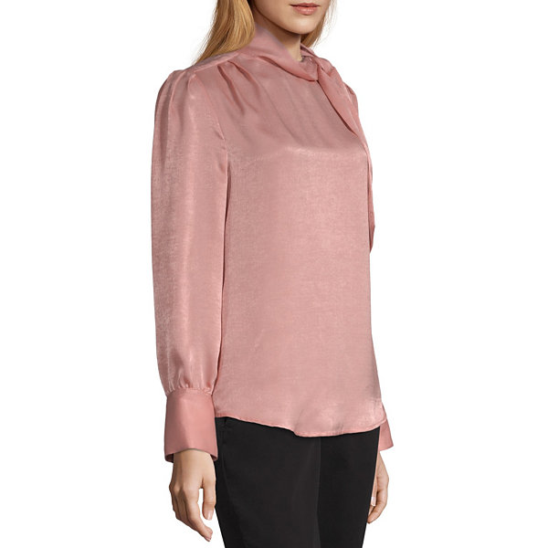 Worthington Womens High Neck Long Sleeve Bow Blou