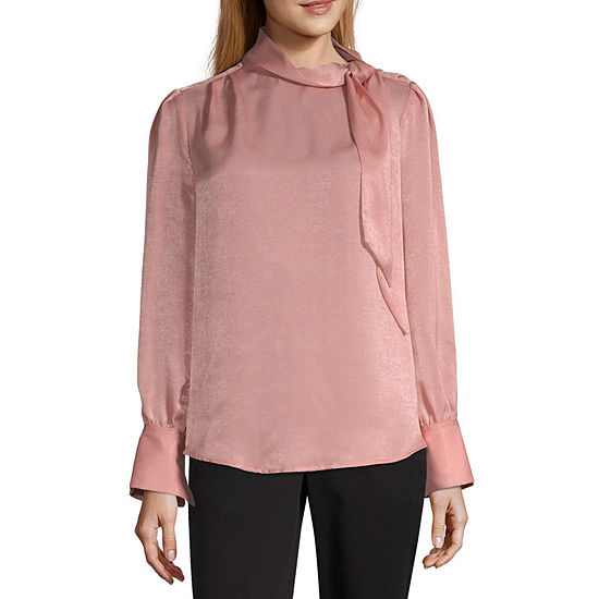 Worthington Womens High Neck Long Sleeve Bow Blouse