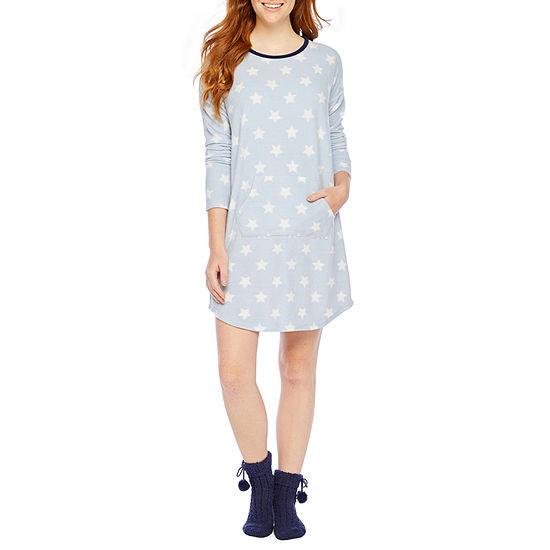 Sleep Chic Womens Fleece Nightshirt Long Sleeve Scoop Neck with Sock Included