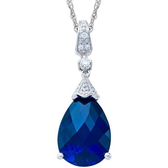 Lab-Created Blue Pear-Cut Sapphire Pendant Necklace