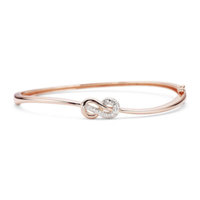 Infinite Promise 1/10 CT. T.W. Diamond 14K Rose Gold Over Silver Infinity Bangle