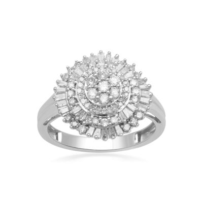 Diamond Blossom Womens 3/4 CT. T.W. Genuine White Diamond 10K Gold Cocktail Ring