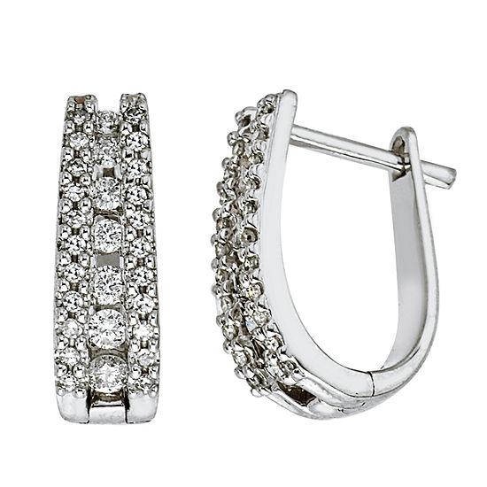 3/8 CT. T.W. Genuine White Diamond 14K Gold Hoop Earrings
