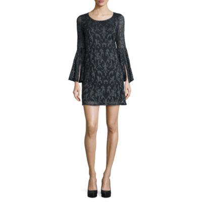 Tiana B. Long Bell-Sleeve Lace Shift Dress - Tall