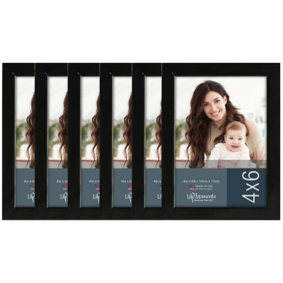 "Life Moments 4x6"" Black Wood Frame- Set of 6"