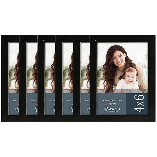 "Life Moments 4x6"" Black Wood Frame- Set of 6"
