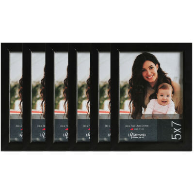 "Life Moments 5x7"" Black Wood Frame- Set of 6"""