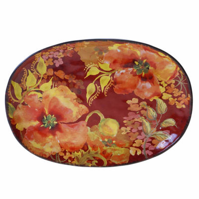 Certified International Watercolor Poppies Serving Platter