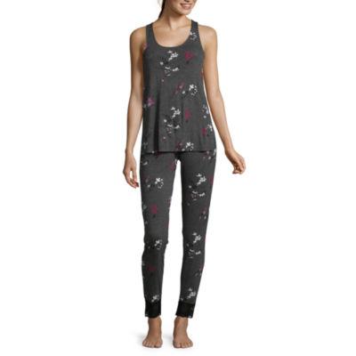 Ambrielle Lace Bank Tank and Slim Leg Pant Pajama Set