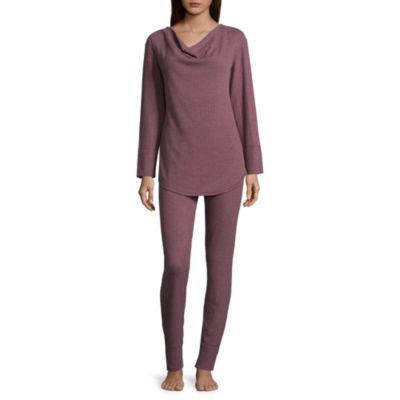 Ambrielle Waffle Knit Pant Pajama Set