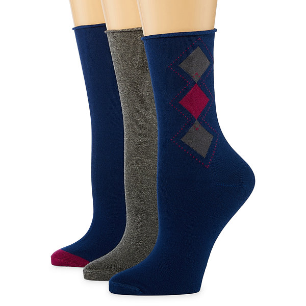 Mixit 3 Pack Non Binding Crew Socks