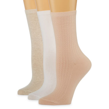 Mixit 3 Pack Non Binding Crew Socks - Womens
