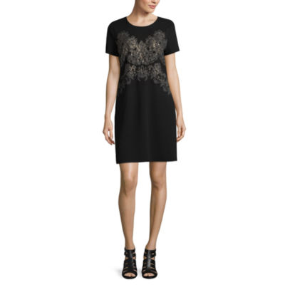 Worthington Short Sleeve Embellished Damask Shift Dress
