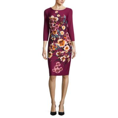 Worthington 3/4 Sleeve Floral Sheath Dress