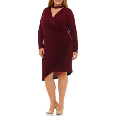 DR Collection Long Sleeve Wrap Dress - Plus