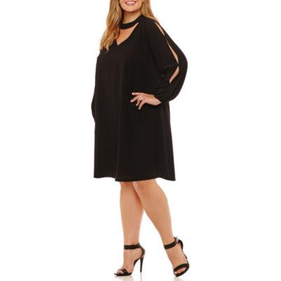 Robbie Bee Long Sleeve Sheath Dress-Plus