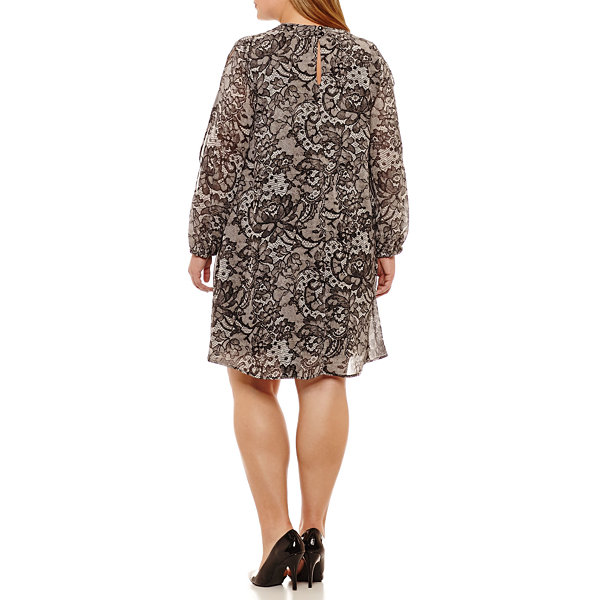Robbie Bee Long Sleeve Floral Sheath Dress-Plus