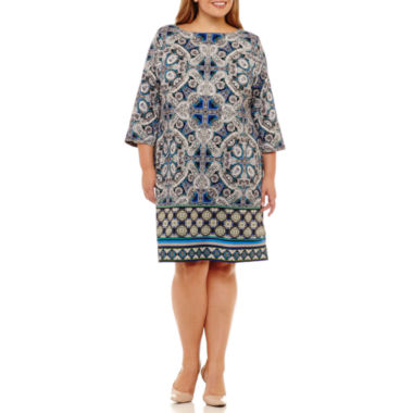 London Times 3/4 Sleeve Paisley Sheath Dress - Plus