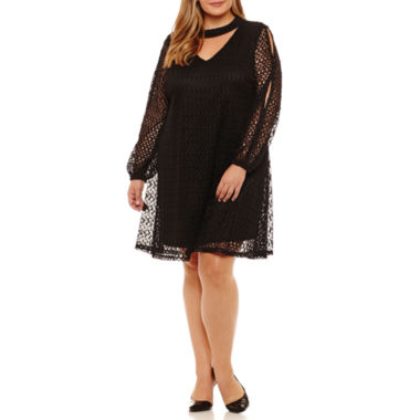 Robbie Bee Long Sleeve Sheath Dress-Plus