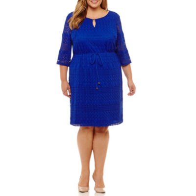 Studio 1 3/4 Sleeve Chevron Sheath Dress-Plus