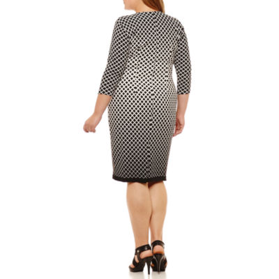 Weslee Rose 3/4 Sleeve Diamond Sheath Dress-Plus