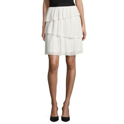 Worthington Floral Woven Pleated Skirt Talls